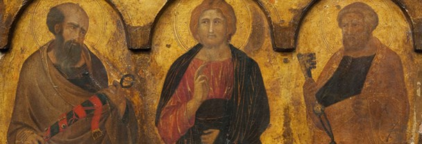 Detail from Lorenzetti, 'Christ between Saints Paul and Peter'