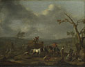 Jan Lingelbach: 'Peasants loading a Hay Cart'