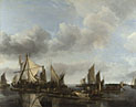 Jan van de Cappelle: 'A River Scene with a Large Ferry'