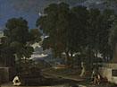 Nicolas Poussin: 'Landscape with a Man washing his Feet at a Fountain'