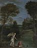 Domenichino: 'Landscape with Tobias laying hold of the Fish'