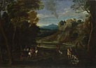 Giovanni Battista Viola: 'Landscape with a Hunting Party'