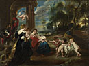 Attributed to the Studio of Peter Paul Rubens: 'The Holy Family with Saints in a Landscape'