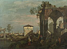 Style of Bernardo Bellotto: 'A Caprice Landscape with Ruins'