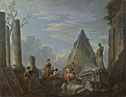 Giovanni Paolo Panini: 'Roman Ruins with Figures'