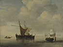 Studio of Willem van de Velde: 'Calm: Two Dutch Vessels'
