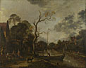 Aert van der Neer: 'A View along a River near a Village at Evening'