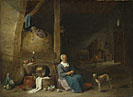 Follower of David Teniers the Younger: 'An Old Woman peeling Pears'