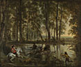 Jan Hackaert: 'A Stag Hunt in a Forest'
