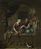Willem van Mieris: 'A Woman and a Fish-pedlar in a Kitchen'