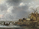 Follower of Isack van Ostade: 'An Inn by a Frozen River'
