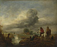 Philips Wouwermans: 'Two Vedettes on the Watch by a Stream'