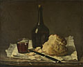 Imitator of Jean-Siméon Chardin: 'Still Life with Bottle, Glass and Loaf'
