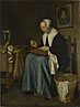 Johannes van der Aack: 'An Old Woman seated sewing'
