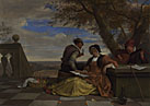 Jan Steen: 'Two Men and a Young Woman making Music on a Terrace'