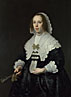 Bartholomeus van der Helst: 'Portrait of a Lady in Black Satin with a Fan'