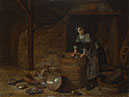 Attributed to Pieter van den Bosch: 'A Woman scouring a Pot'