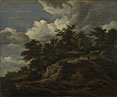 Jacob van Ruisdael: 'A Rocky Hill with Three Cottages, a Stream at its Foot'
