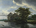 Jacob van Ruisdael: 'A Cottage and a Hayrick by a River'