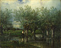 Jules-Louis Dupré: 'Willows, with a Man Fishing'