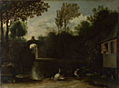 Anthonie van Borssum: 'A Garden Scene with Waterfowl'