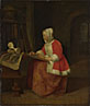 Gabriel Metsu: 'A Young Woman seated drawing'