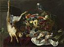 Attributed to Jan Fyt: 'A Still Life with Fruit, Dead Game and a Parrot'