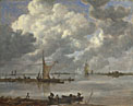 Jan van Goyen: 'An Estuary with Fishing Boats and Two Frigates'