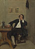 Jean-Louis-Ernest Meissonier: 'A Man in Black smoking a Pipe'