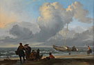 Ludolf Bakhuizen: 'A Beach Scene with Fishermen'