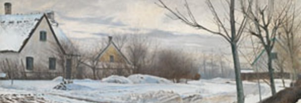 Detail from Laurits Andersen, Ring Road in the Village of Baldersbronde (Winter Day), 1912