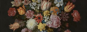 Detail from Ambrosius the Elder Bosschaert, A Still Life of Flowers in a Wan-Li Vase on a Ledge with further Flowers, Shells and a Butterfly, 1609-10