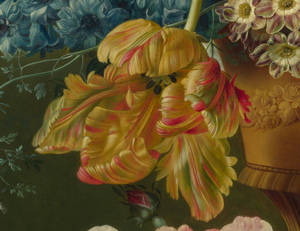Detail from Paulus Theodorus van Brussel, 'Flowers in a Vase', 1792