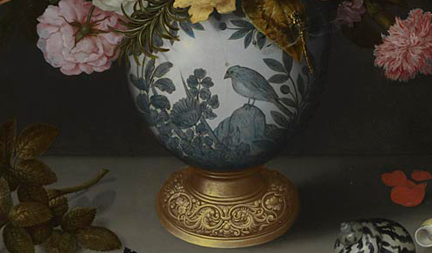 Detail from Ambrosius Bosschaert the Elder, 'A Still Life of Flowers in a Wan-Li Vase', 1609-10