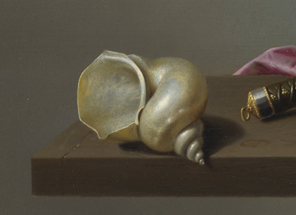 Detail from Harmen Steenwyck, 'Still Life: An Allegory of the Vanities of Human Life', about 1640