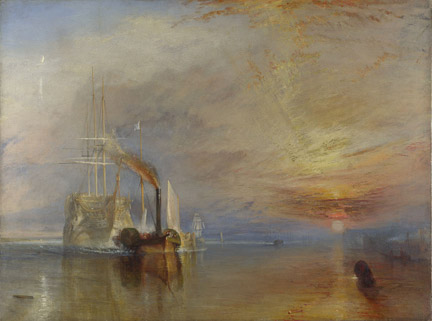 Joseph Mallord William Turner, The Fighting Temeraire tugged to her last berth to be broken up, 1838, Oil on canvas, 90.7 x 121.6 cm, Turner Bequest, 1856.