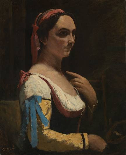 Jean-Baptiste-Camille Corot, 'Italian Woman, or Woman with Yellow Sleeve (L'Italienne)', about 1870 © The National Gallery, London