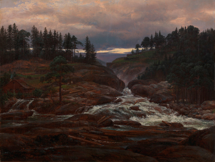 Johan Christian Dahl , 'The Lower Falls of the Labrofoss', 1827
