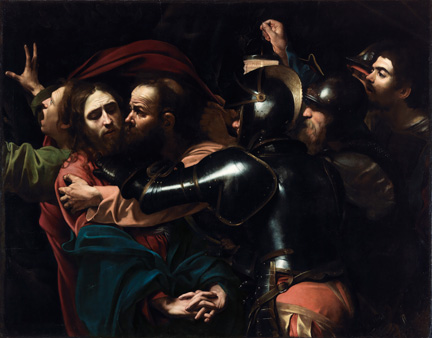 Detail from Michelangelo Merisi da Caravaggio, The Taking of Christ, 1602. On indefinite loan to the National Gallery of Ireland from the Jesuit Community, Leeson St., Dublin who acknowledge the kind generosity of the late Dr Marie Lea-Wilson, 1992. Photo © The National Gallery of Ireland, Dublin