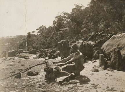 Arthur Streeton at the camp at Mosman, about 1892-3. Photographer unknown © State Library of New South Wales