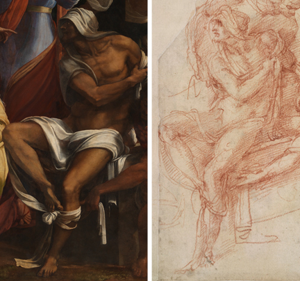 Left: Detail from Sebastiano del Piombo, incorporating designs by Michelangelo, 'The Raising of Lazarus', 1517-19 © The National Gallery, London. Right: Detail from Michelangelo, 'Lazarus with his right arm held across his chest, draped in a shroud; the upper part of Lazarus's body' (upside down), probably 1518. The British Museum, London (1860,0714.1) © The Trustees of The British Museum