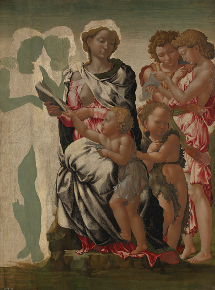 Michelangelo, 'The Virgin and Child with Saint John and Angels ('The Manchester Madonna')', about 1497 © The National Gallery, London