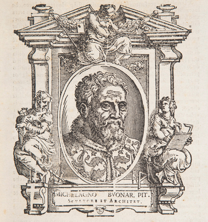 Giorgio Vasari (1511 - 1574), 'Engraved portrait of Michelangelo, from Vasari's Lives of the Artists', 1568 edition © The National Gallery, London