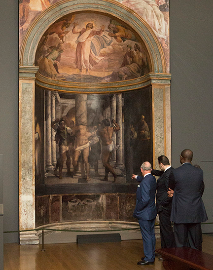Royal visit at the gallery for Michelangelo and Sebastiano exhibition