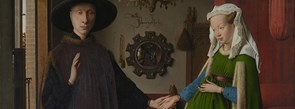 Detail from Jan van Eyck, Portrait of Giovanni(?) Arnolfini and his Wife, 1434