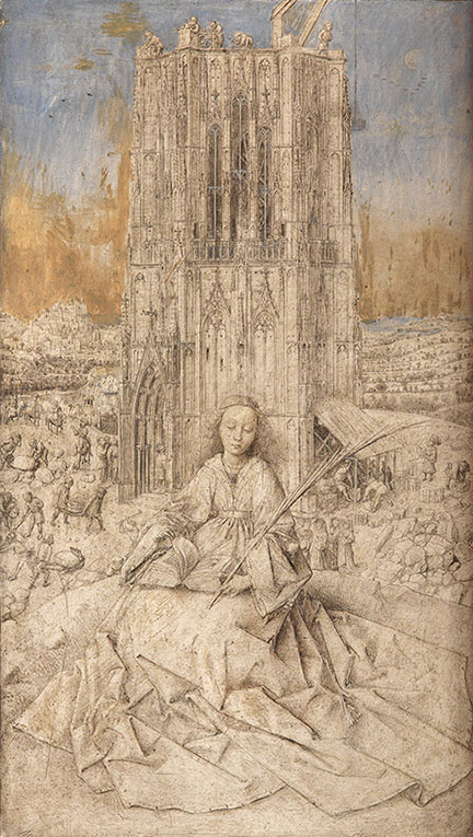 Detail from Jan van Eyck, 'Saint Barbara', 1437. Royal Museum of Fine Arts, Antwerp © www.lukasweb.be‐Art in Flanders vzw, photo Hugo Maertens