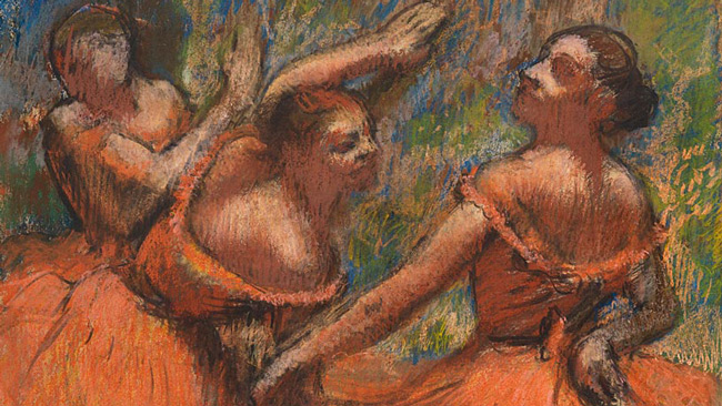 Detail from Hilaire-Germain-Edgar Degas, 'The Red Ballet Skirts', about 1900 The Burrell Collection © CSG CIC Glasgow Museums Collection