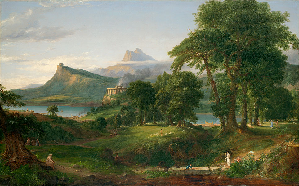 Thomas Cole, 'The Course of Empire: The Pastoral or Arcadian State', 1834. Courtesy of the New-York Historical Society © Collection of The New-York Historical Society, New York / Digital image created by Oppenheimer Editions