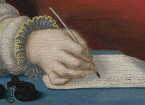 Detail of a person writing