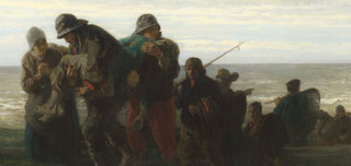 Jozef Israëls, Fishermen carrying a Drowned Man, probably 1861